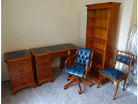 SUPERB QUALITY SET OF 5:(YEW LEATHER):Desk+Filing Cabinet+Chesterfield Captains Chair+Chair+Bookcase