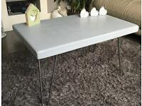 Solid wood top hairpin leg coffee table