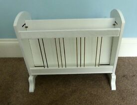 An Extremely Unusual Designed Retro / Vintage White Wooden Magazine Rack with original brass