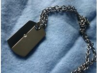Titanium and Diamond dogtag shaped pendant