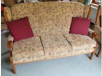 Three Piece Cottage Style Suite w Three Seat Sofa Excellent Condition