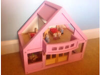 Wooden Dolls House With Figures & Wooden Furniture