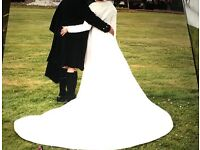Ivory full length wedding dress & coat