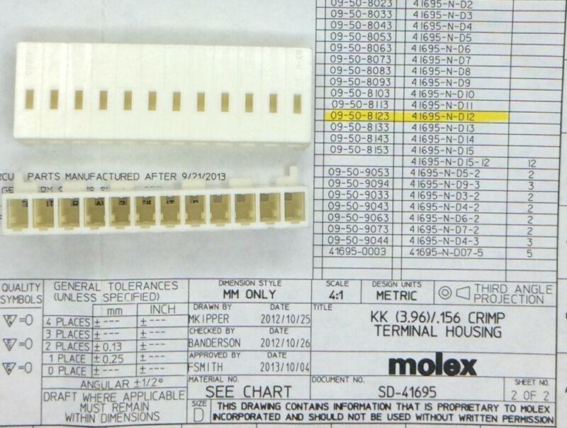 09-50-8123 MOLEX CONN HOUSING 12POS 30 PIECES