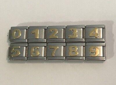 Numbers- Italian Charm 9mm Single Link for Bracelet - Number 0 thru 9 You Choose ()