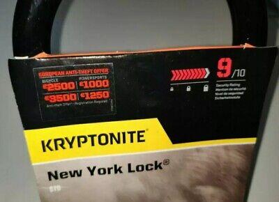 9//10 Sold Secure Gold Kryptonite New York Standard Lock /& Flexframe Bracket