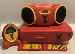 Disney Mickey Mouse Kids DVD Player DVD2000-C, Alarm Clock Radio, CD Player Lot
