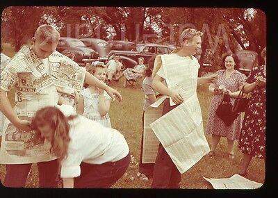 1950s  Photo slide Park Picnic Boys newspaper costume cars   Chicago IL suburb  - Newspaper Boy Costume