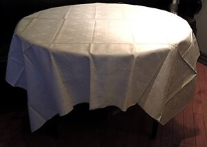 Vtg Table Cloth Irish Linen Double Damask Never Used $70.00