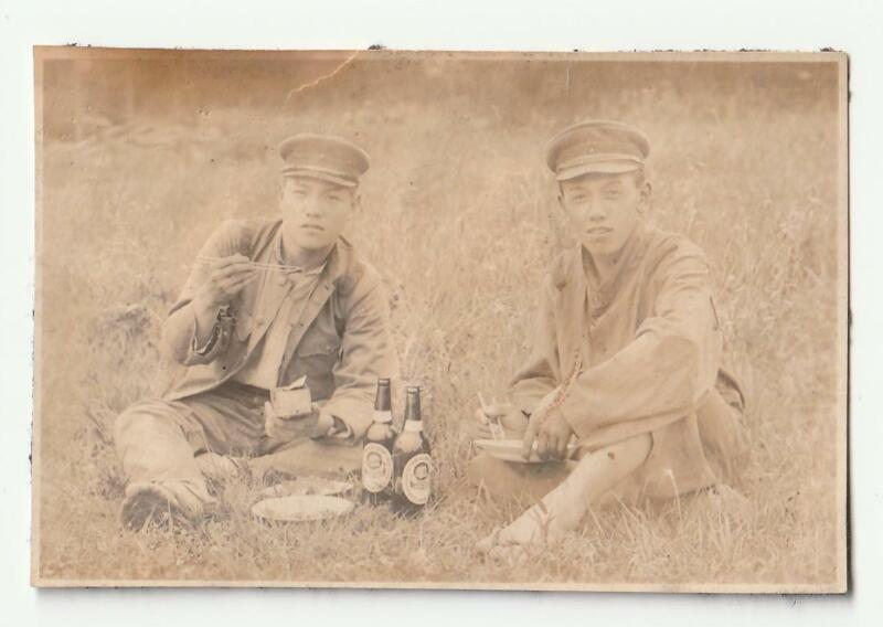 WWII Imperial Japanese Army IJA Soldiers Lunch Chopsticks Beer Photo China