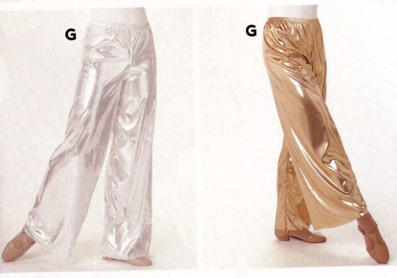 NWT FOIL Wide Leg Pants Praise Liturgical Ladies sizes Gold or Silver Metallic