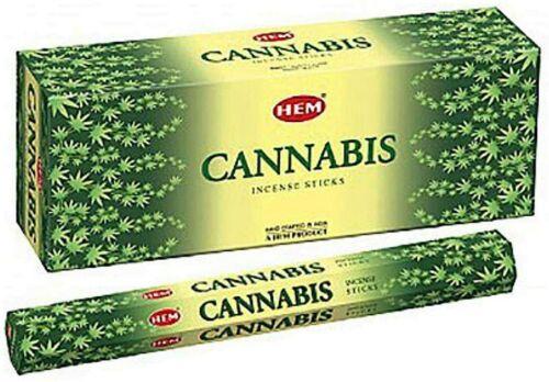 Hem Cannabis Scented Incense Sticks (Hex Tubes, Retail Box, 6 Tubes, 120 Sticks)