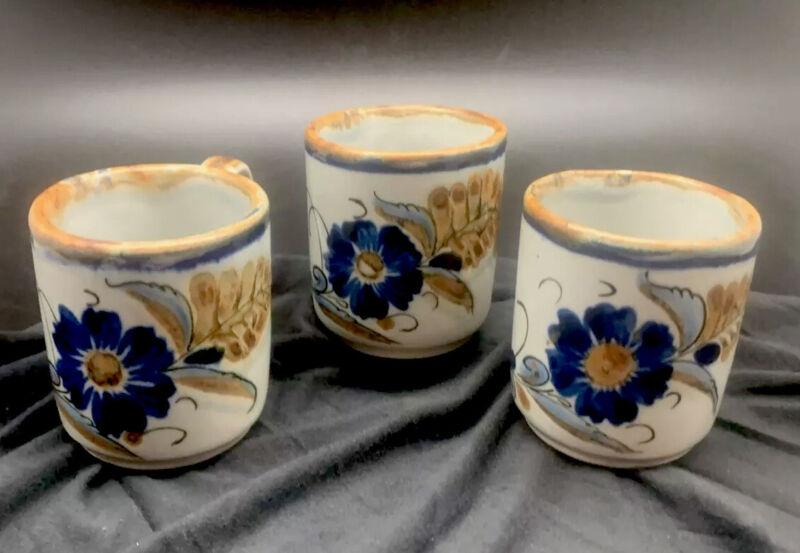 El Palomar Espresso Demi Cup Espresso Blue Flower Tonala Style Mexico Pottery