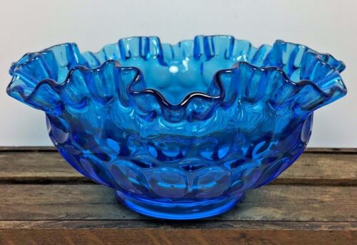 Vintage Cobalt Blue Ruffled Glass Bowl Candy Dish