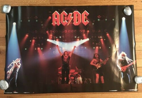 "AC/DC Poster For Those About To Rock Live Original 1981 32"" X 21"" Vintage"