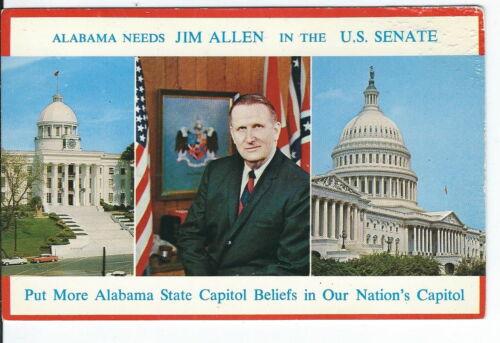 CB-008 Alabama, Jim Allen for U.S. Senate Political Chrome Postcard Politics