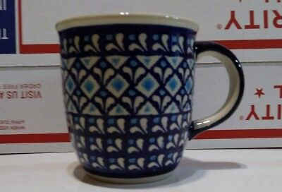 BOLESLAWIEC  Polish Pottery Cup Mug  Hand Painted  Blue White