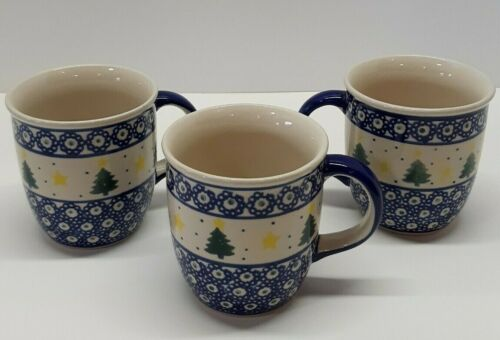 "3 Boleslawiec Coffee Mug / Cup Handmade in Poland 4"" Tall"