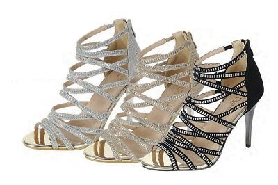 New Womens Rhinestone Strappy Cage Dress Sandal Shoe Peep Toe Stiletto High (Womens High Stiletto Heel)