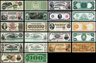 !REPRODUCTION! 11 OLD RARE UNITED STATES 100 DOLLARS BANKNOTES !NOT REAL!