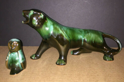 2 - Vintage Blue Mountain Pottery Canada Larger Panther + Snowy Owl Black Green