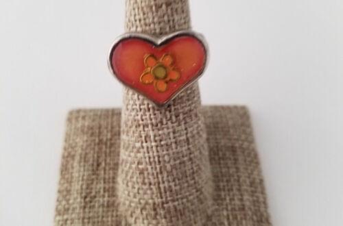 Orange Hippie Heart Flower Ring Vintage Silver Tone Fashion Retro Rings Size 5.5