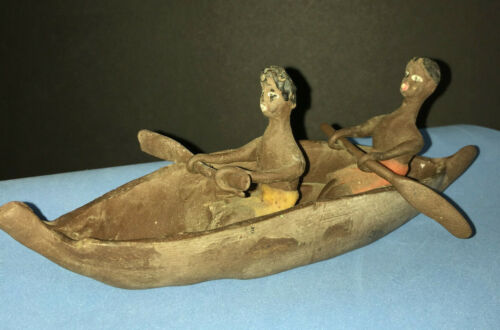 Vintage Handmade Rubber Carving Canoe Paddlers South Pacific Polynesian Folk Art