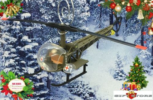 CHRISTMAS ORNAMENT HELICOPTER BELL H-13D MASH ARMY AIR MEDEVAC VIETNAM AMBULANCE