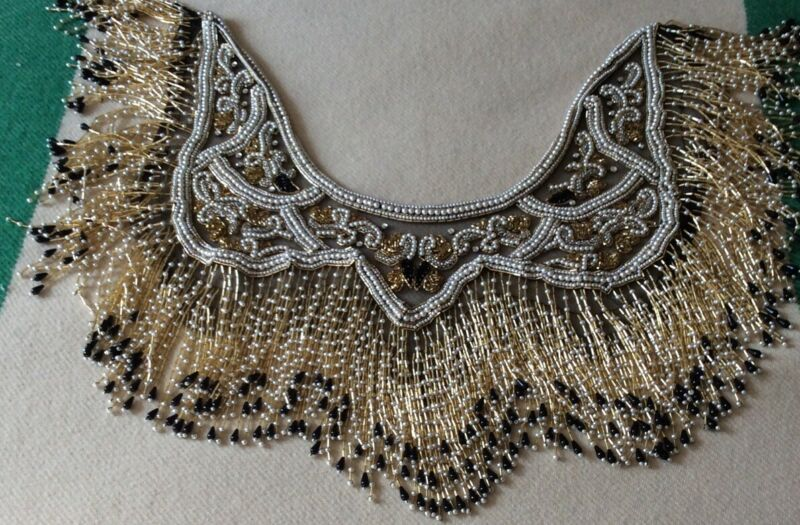 ART DECO INSPIRED BEADED and FRINGED SHAWL/ COLLAR