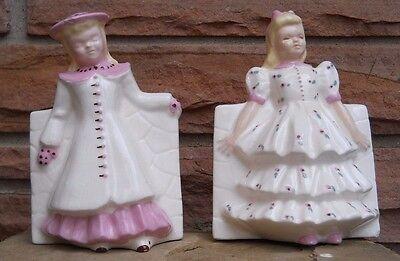 Vintage Set of 2 Unique Ceramic Flower Vases Girl Standing White & Pink