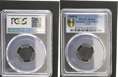1 Pfennig 1945 E seltenes Münzzeichen  prägefrisch PCGS MS63