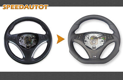 Part Exchange Flattened LEATHER STEERING WHEEL BMW M-power E90, E91 NEW - Cover