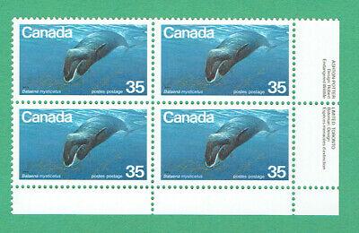 Canada (1979) Sc# 814 Endangered BOWHEAD WHALE VFNH LR Inscription Block @ f.v.