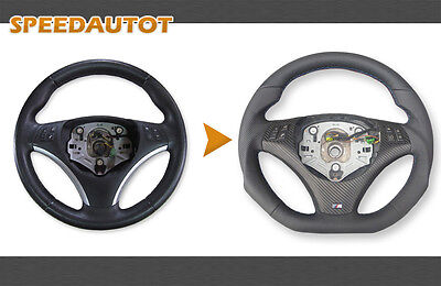 Part Exchange Flattened LEATHER STEERING WHEEL BMW M-power E92, E93 NEW Cover -