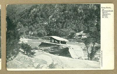 Vintage Photo Postcard Frog Rock Shenandoah River Harpers Ferry Wv 1906 Und Back