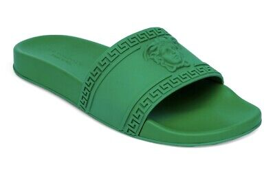 NIB VERSACE MENS AMAZON GREEN MEDUSA POOL SLIDES FLIP-FLOPS SIZE 42 EU 9 US