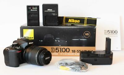 Nikon D5100 camera kit 18-55mm VR lens 16.2 MP - low actuations EXTRAS
