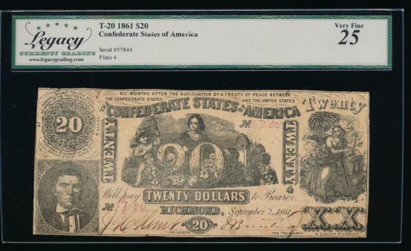 T-20 $20 1861 Confederate Currency CSA Legacy 25 comment