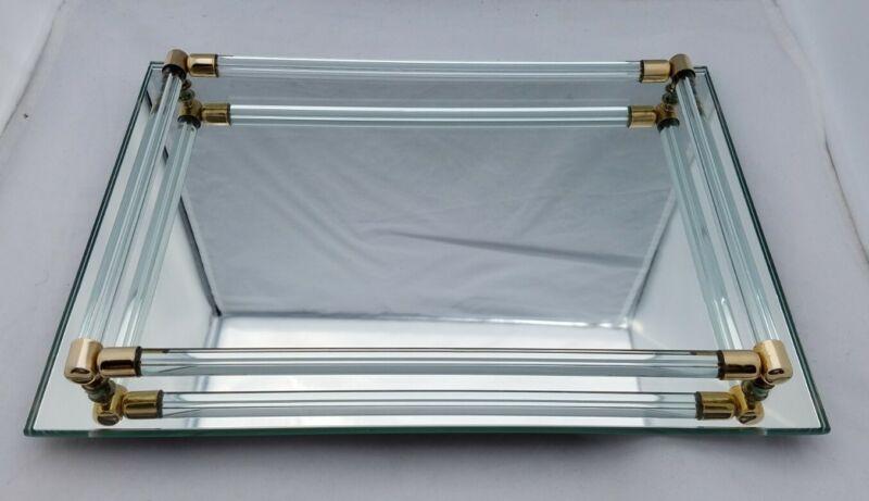 VTG Vanity Mirror Perfume Tray Glass Rod Rails 11x8 Hollywood Glam Regency 3avl