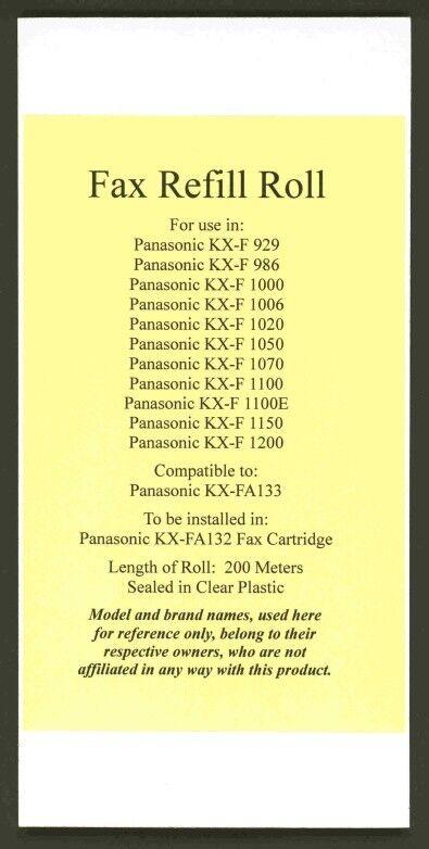 KX-FA133 Fax Film Roll for Panasonic KX-F929 KX-F986 KX-F1000 KX-F1100 KX-F1200