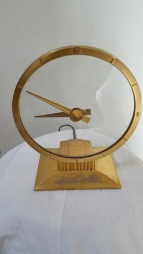 JEFFERSON GOLDEN HOUR VINTAGE MID CENTURY ELECTRIC CLOCK GOLD RUNS