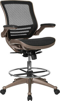 Black Mid-back Mesh Drafting Chair With Melrose Gold Frame And Flip-up Arms