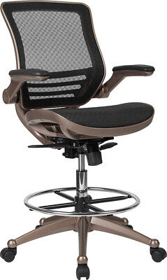 Mid-back Black Mesh Drafting Chair With Melrose Gold Frame And Flip Up Arms