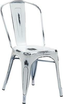 DISTRESSED WHITE METAL INDOOR STACKABLE CHAIR