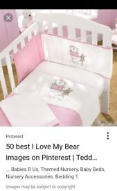I love my bear cotbed and bumper bedding set