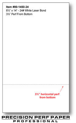 Perforated Paper - 8.5 X 14 With 3 12 Perf - 550 Sheets - 24 Lb - Legal Size