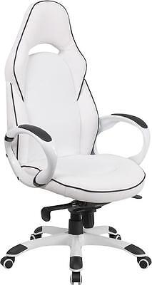 Vinyl High Back Executive Chair - HIGH BACK WHITE VINYL EXECUTIVE SWIVEL OFFICE CHAIR WITH BLACK TRIM