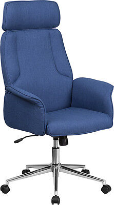 High Back Blue Fabric Executive Swivel Office Conference Chair With Chrome Base