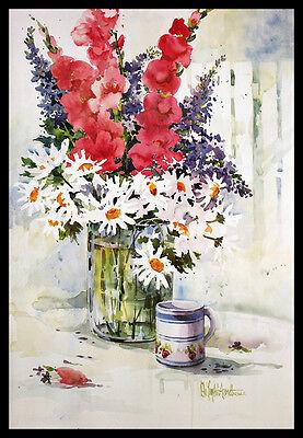 Deloyht-Arendt Still Life with Bouquet Poster Bild Kunstdruck und Rahmen 59x84cm
