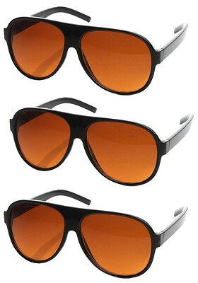 Orange Sunglasses Bulk (3 PAIRS Aviator BLUE BLOCKER Sunglasses for Driving with Amber Lens)